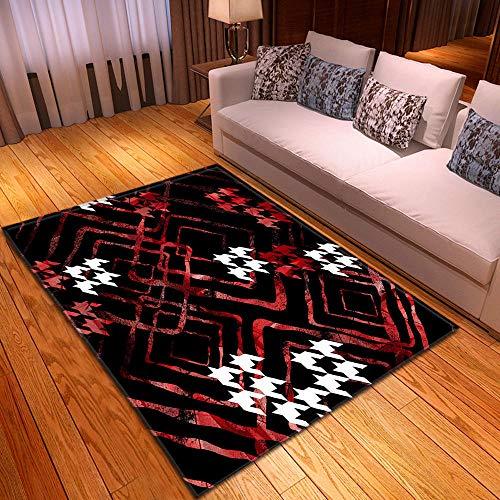 Alfombra Estampada Geometría de Graffiti Blanco Rojo Negro Alfombra Moderna Lavable Duradera Anti-desvanecimiento 160 x 230 cm Antideslizante Salón Alfombra Cocina Alfombra
