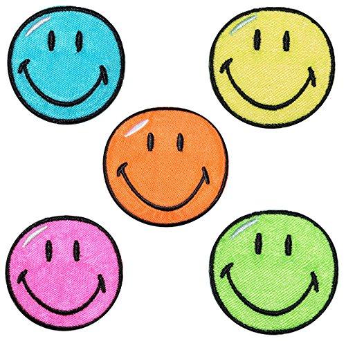 2 tlg. Set: Bügelbilder - Smiley - 3,8 cm * 3,8 cm - Aufnäher gewebter Applikation / Flicken - Emotion Smileys Gesichter Smile / lachend grinsend - bunt World - Mädchen Jungen Kinder Erwachsene - Smilies