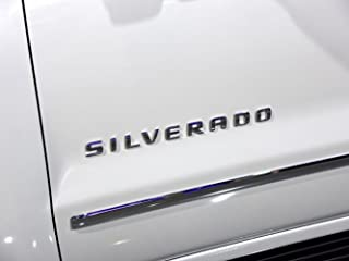 Yoaoo 1x OEM Chrome Silverado Emblem Badge Nameplate Letter Replacement for 2500Hd 3500Hd 1500 Shiny Glossy