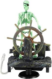 Hikig Fish Tank Decorations Skull, Action-Aquarium Skeleton Pirate Captain Fish Tank Landscape Decoration Ornament