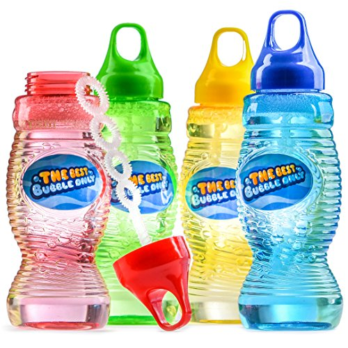 Prextex Toy Big Bubble Solution Total of 32 Ounces Refill with Wand, Bubble Gun...