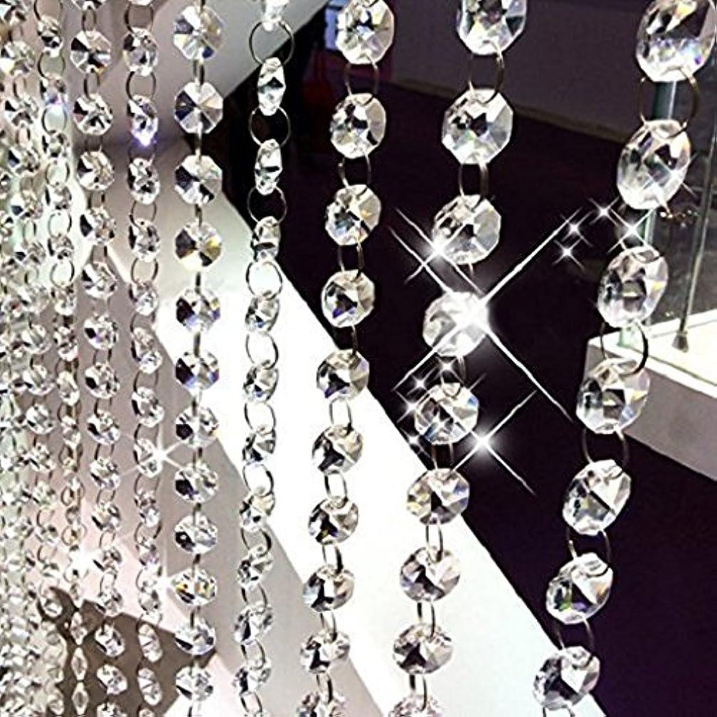 怒るあさりスポークスマン10本 八角珠ビーズカーテン クリスタル 珠のれん 装飾 DIY ドア/入り口/玄関/窓/ウェディング/パーティー (10x1M, クリア)
