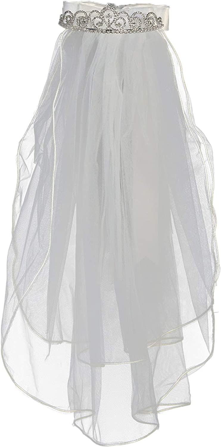 Swea Pea & Lilli Girls First Communion Veil - White Holy 1st Communion Headpiece with Tiara and Bow