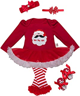 5610d117c9839 URBEAR Bébé Filles Déguisement Noël Barboteuse Robe Tenues Ensemble 5 pc  père Noël 18-36