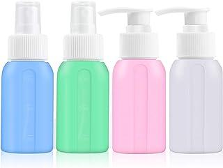 Lot de 4 flacons de voyage en silicone de 50 ml pour produits de toilette approuvés par la TSA, accessoires de voyage rech...