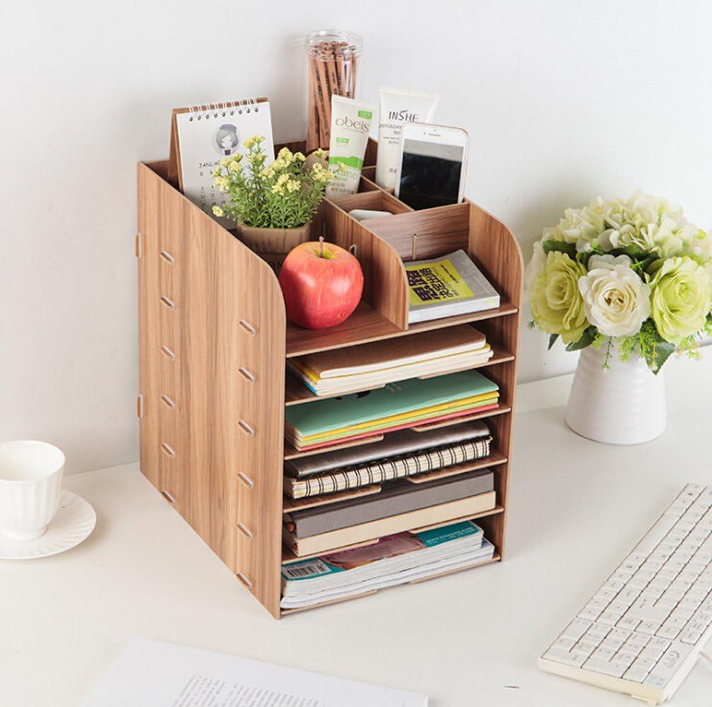 大特価!! Wood DIY Horizontal Desk Organizer Literature No Folder for File 訳あり