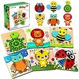 lenbest Giocattoli Bambini, 6 Pezzi Animali Puzzle in Legno Set Giochi Bambino Montessori Educativi Gioco Blocchi di Modello Regalo per 3+ Anni Bambini Ragazza Ragazzo - Multicolore