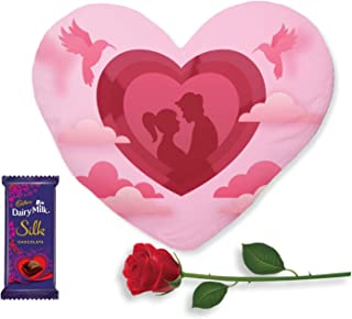 TheYaYaCafe Birthday Gifts Chocolate Gifts Combo for Girlfriend Boyfriend, Heart Shape Cushion (with Filler), 1 Artificial...