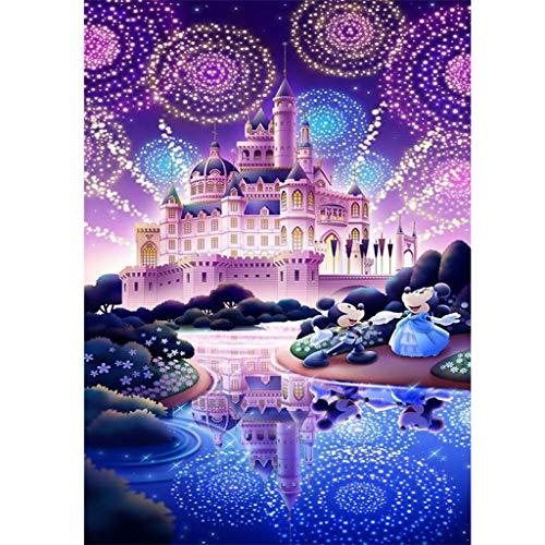 Mickey Mouse 5D Diamond Painting Set für Erwachsene, Schloss DIY Bilder Diamant Painting Set für Kinder, Runde Steine Diamant Malerei Kits für Weihnachten/Zuhause/Dekor (30x40cm)