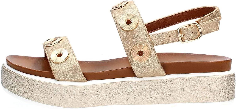 CAFé schwarz GD943 GD943 Sandalen Sandaletten Damen Gold Sandalen Sandaletten