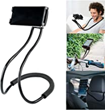 FlexMount Lazy Bracket Phone Holder (Black) - Universal Hanging on Neck Lazy Phone Holder DIY Free Rotating Stand on Table Smart Multiple Functions Mobile Phone Mount Stand