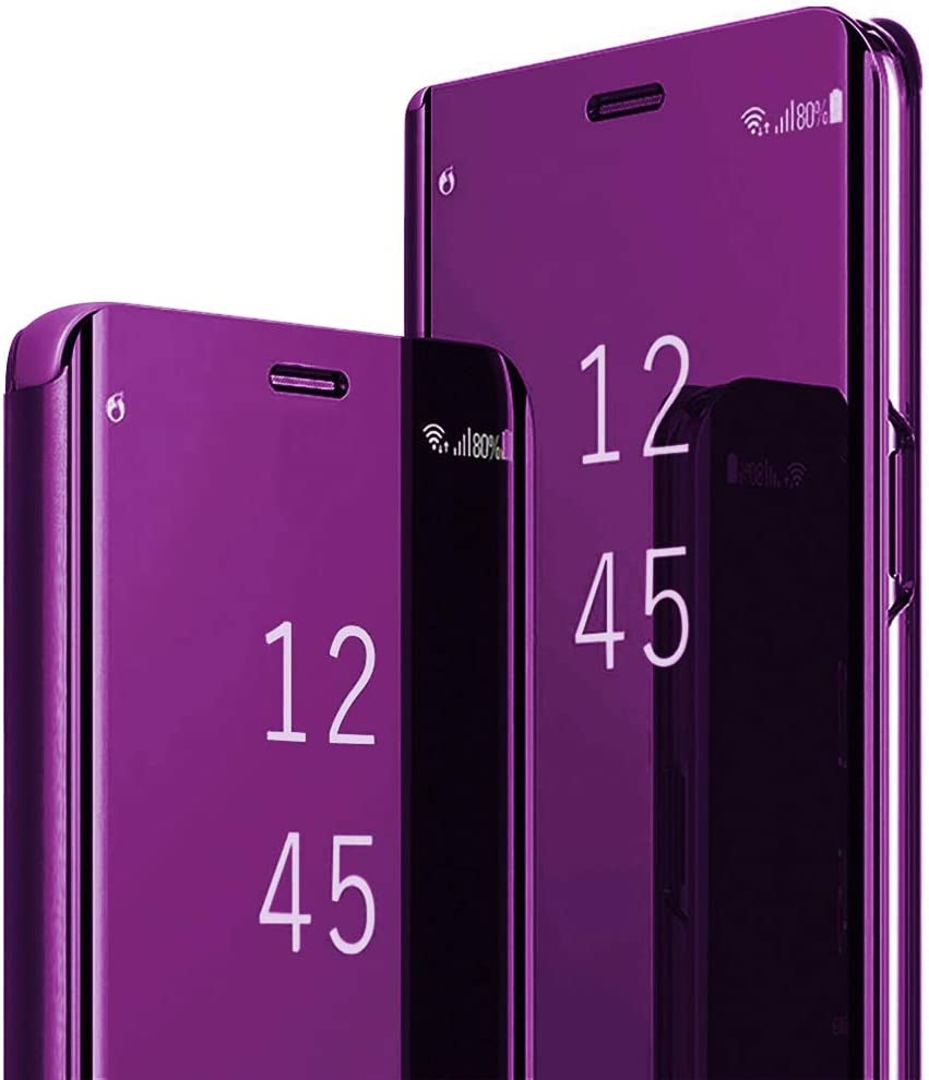 Samsung Galaxy S8 Plus Slim Purse Bag, Multi-Function Removable Magnetic Clamshell Translucent Clear Mirror Sleep Stand Protection S8+ S-View flip Cover Black (Purple, Galaxy S8 Plus)