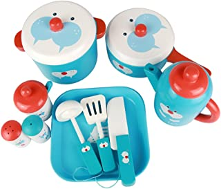 umu Kids Kitchen Set Accessories Set-Pots & Pans&Tableware with Wooden(11pieces)