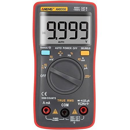 ZJN-JN Nuovo ANENG AN8008 True-RMS multimetro Digitale 9999 Conti Onda Quadra retroilluminazione AC DC Tensione amperometro Corrente Ohm Automatico//Manuale Test Elettrico di Tensione Tester