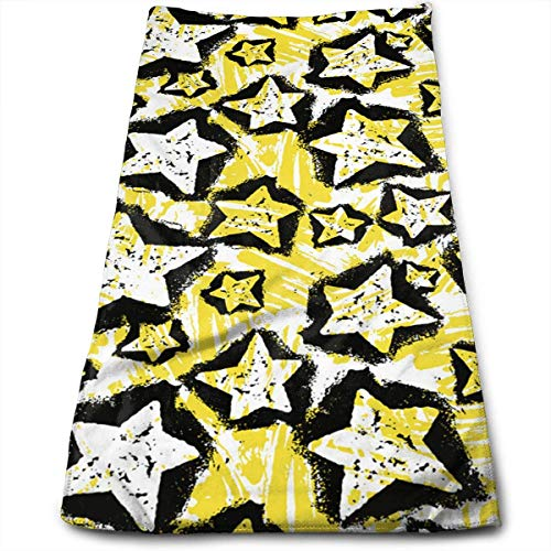 Hipiyoled Sky Yellow Five-Pointed Star Kitchen Towels-Dish Cloth-Machine Washable Cotton Kitchen Dishcloths (12 x 27.5 inch)