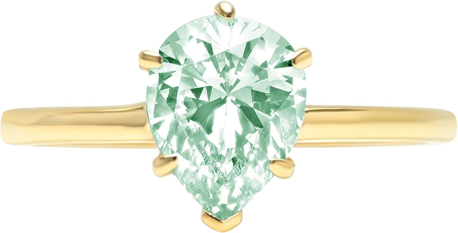 2.4ct Brilliant Pear Cut Solitaire Light Sea Green Simulated Diamond Cubic Zirconia Ideal VVS1 D 6-Prong Engagement Wedding Bridal Promise Anniversary Ring Solid 14k Yellow Gold for Women
