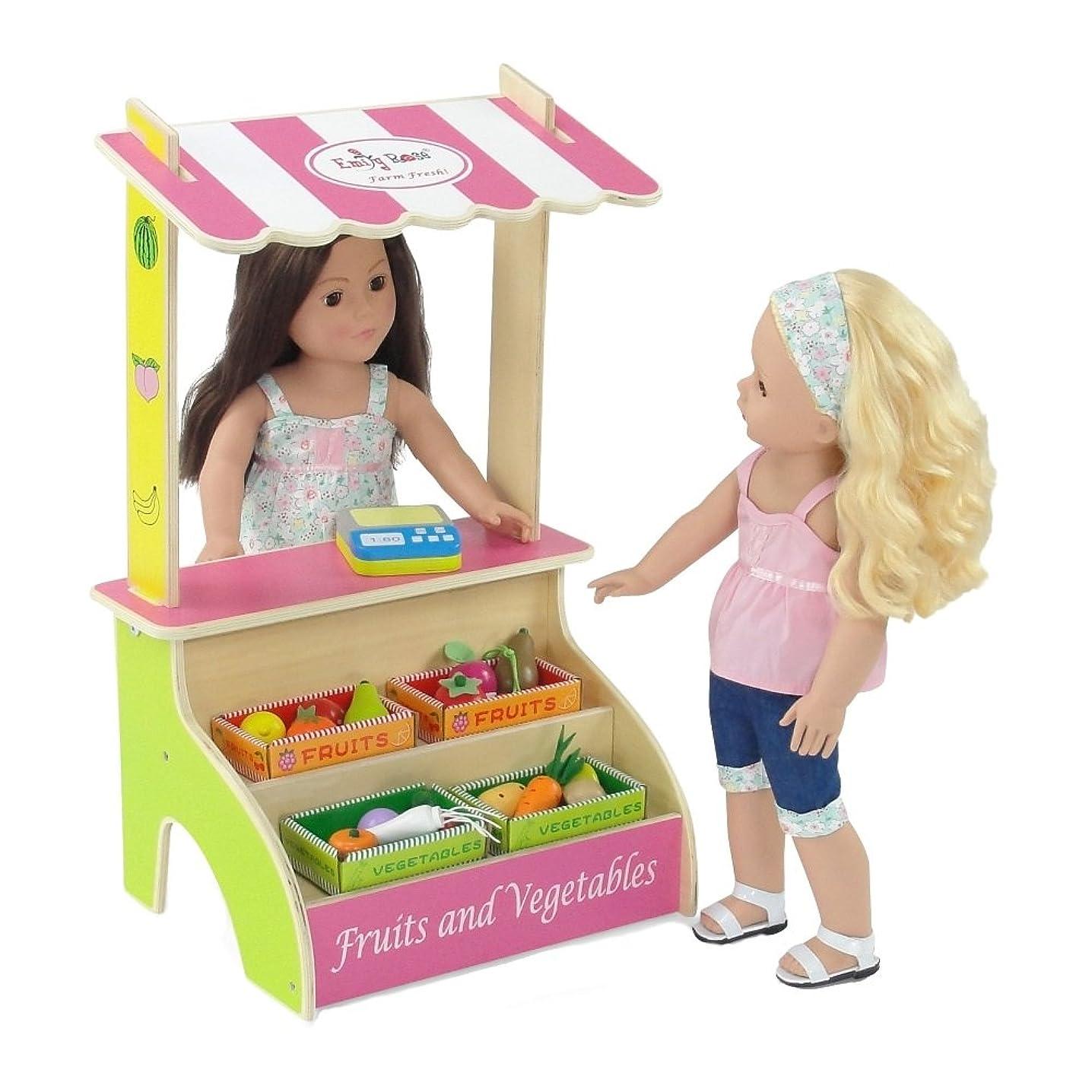 似ている国家キャンドル18-inch Doll Furniture   Brightly Colored Farmer's Market Fruit and Vegetable Stand with 16 Colorful Wooden Fruits and