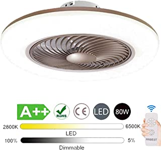 LED Lámpara De Techo Ventilador De Techo 80W Con Iluminación Control Remoto Fan Silencioso Luz De Techo Ventilador De Techo Invisible Ventilador Para Sala De Niños Sala De Estar Dormitorio (Brown)