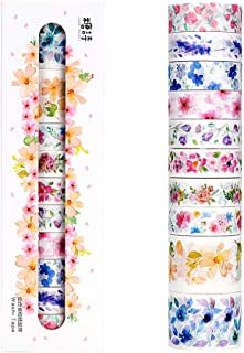 Molshine Set of 10 Washi Masking Tape Set,Sticky Paper Tape,Crafts Tape for DIY,Bullet Diary Decorative,Gift Wrapping,Scrapbook, Office,Party Supplies,Collection-Unheard of Flower Name
