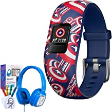 Garmin Vivofit jr. 2 Adjustable Captain America Activity Tracker for Kids (010-01909-32) with Bonus Deco Gear Kids Safe Ears Headphones