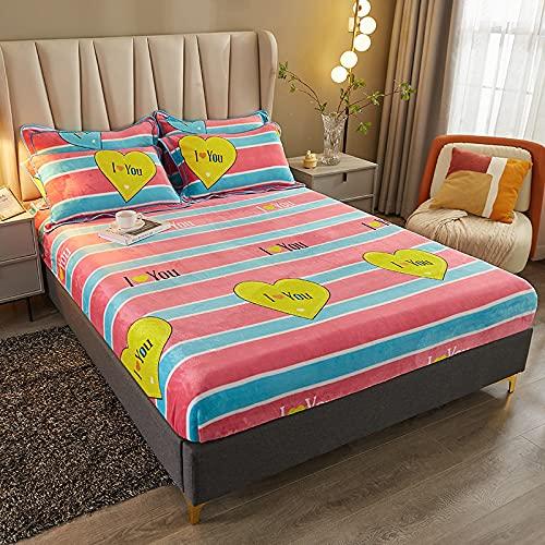 HAIBA Invierno cálido franela elástica banda ajustable colchón cubierta impresión floral felpa super suave acogedor king size hoja de cama, OTR-18,120x200CM