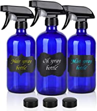 16oz Cobalt Blue Glass Spray Bottles,3 Pack Empty Spray Bottle Refillable Containers for mixing Essential Oils,Hair & Clea...