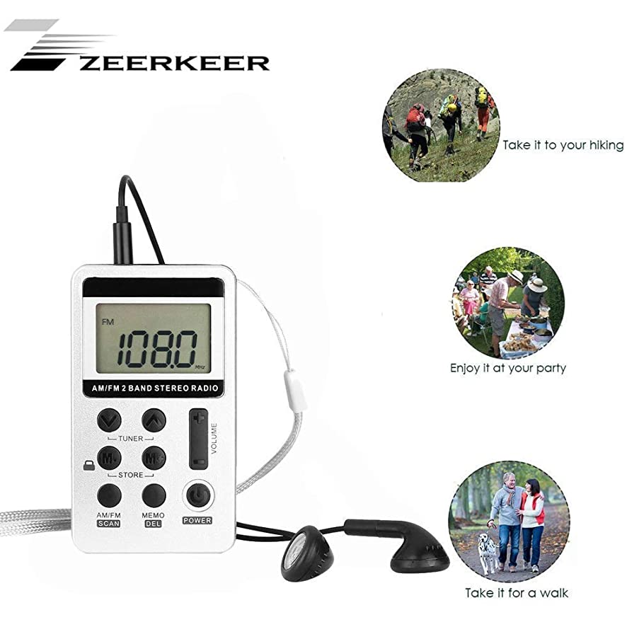 ZEERKEER AM FM Pocket Radio, Portable Digital Tuning AM FM Stereo Radio with Rechargeable Battery, LCD Display and Earphone for Walking