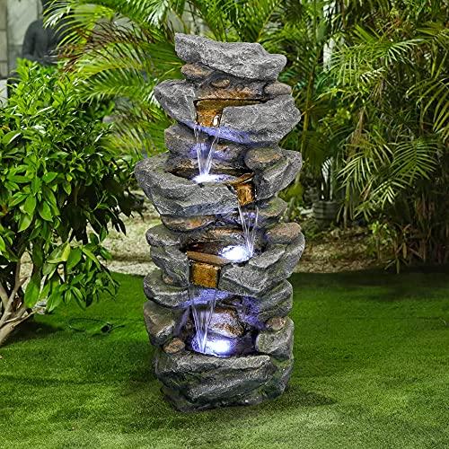 WATURE Rockery Outdoor Wasserfall Gartenbrunnen - 100cm Hoch 4-Tier-Brunnen mit LED-Lichts&Beruhigender Klang für drinnen und drauße, Gestapelte Steine Kaskade Terrassenbrunnen