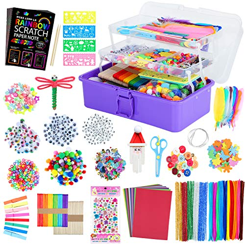 VOLINFO Kids Arts and Crafts Supplies Set- Toddler 1600 Pcs DIY Craft Box Include 26 Pcs Rainbow Scratch Art Set, Craft Supplies & Materials, Folding Storage Box, All in One Craft Kit for Kids Gift