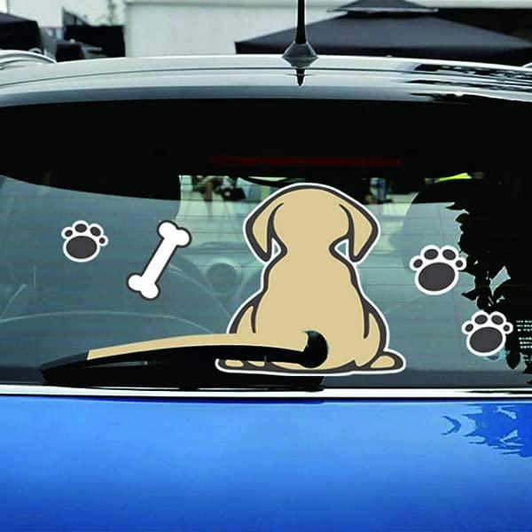 可爱贴纸可爱摇尾狗反光汽车造型后挡风玻璃雨刷贴纸装饰