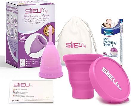 Copa Menstrual Sileu Cup Bell - 12 horas de protección sin fugas y pérdidas - Talla L Transparente + Esterilizador Plegable al azar + 50 Pastillas ...