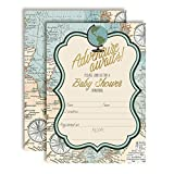 Adventure Awaits World Traveler Gender Neutral Baby Shower Invitations, 20 5'x7' Fill in Cards with Twenty White Envelopes by AmandaCreation