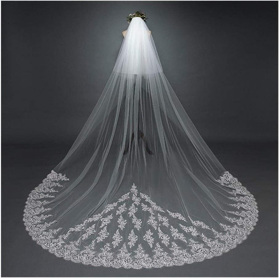 Bridal Veil Applique Edge Bride Veils White Two-Layer Comb Luxury Wedding Accessories for Bride 3.8M 829