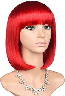 HEESAGA Red Bob Wig with Bangs, 12 Inch Shoulder-Length Short Synthetic Hair Wig for Women