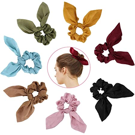 Women Hair Rope Ties Elastic Bow Knot Bunny Hair Ring Ponytail Holder Scrunchie
