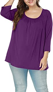 Allegrace Women's Plus Size Tops Casual Collar 3/4 Sleeve T Shirts Ruched Blouses Loose Tee Top