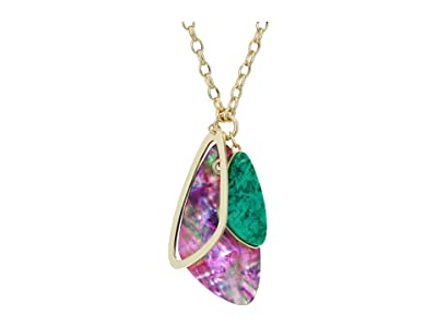 Kendra Scott Mckenna Charm Necklace (Gold Sea Green Mix) Necklace