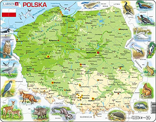 Larsen K98 Polonia Mapa físico, edición en Polaco, Puzzle de Marco con 61 Piezas