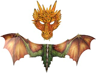 Clearance Sale !Halloween Cosplay Costume -Fantasy Halloween Dinosaurio Dragon Realistic Animal Mask Cosplay Wings Accessory (Yellow, mask+Wing)