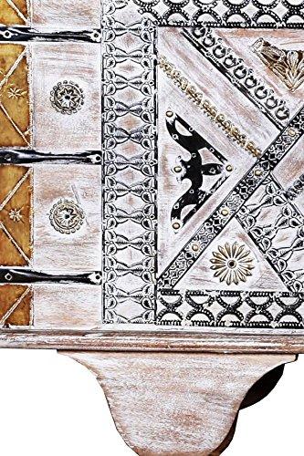 Orientalische Truhe Kiste aus Holz Chadijah 116cm groß | Vintage Sitzbank mit Aufbewahrung für den Flur | Aufbewahrungsbox mit Deckel im Bad | Betttruhe als Kissenbox oder Deko im Schlafzimmer - 4