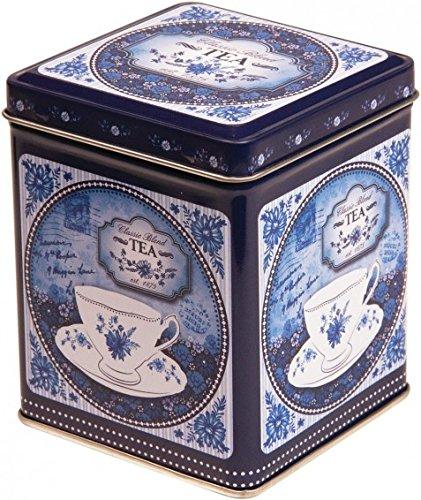 Buzz China Blue Boîte à thé/boîte de rangement de cuisine carrée style rétro-vintage classique avec couvercle à charnière pour 100 g de thé Bleu et blanc 9,5 cm