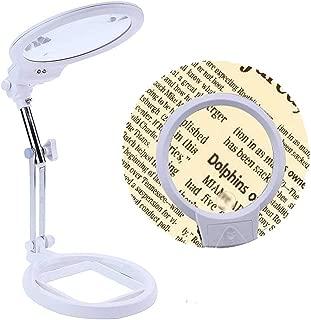 عدسة كبيرة مكبرة يمكن طيها بدون استخدام اليد ويمكن حملها باليد مع 2 لمبة LED كبيرة الحجم مقاس 5.5 بوصة أفضل مكبر للقراءة مع أضواء للتلف الدقيق للكبار وتصميم مجوهرات القراءة إلخ