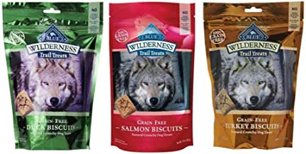 Blue Buffalo Wilderness Trail Treats GrainFree Dog Biscuits 3 Flavor Variety Bundle: (1) Blue Wilderness Trail Treats Duck, (1) Blue Wilderness Trail Treats Turkey and (1) Blue Wilderness Trail Treat