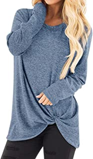 FEISI22☀ Women's Comfy Casual Long Sleeve Side Twist Knotted Tops Blouse Tunic T Shirts O Neck Loose Blouse Top