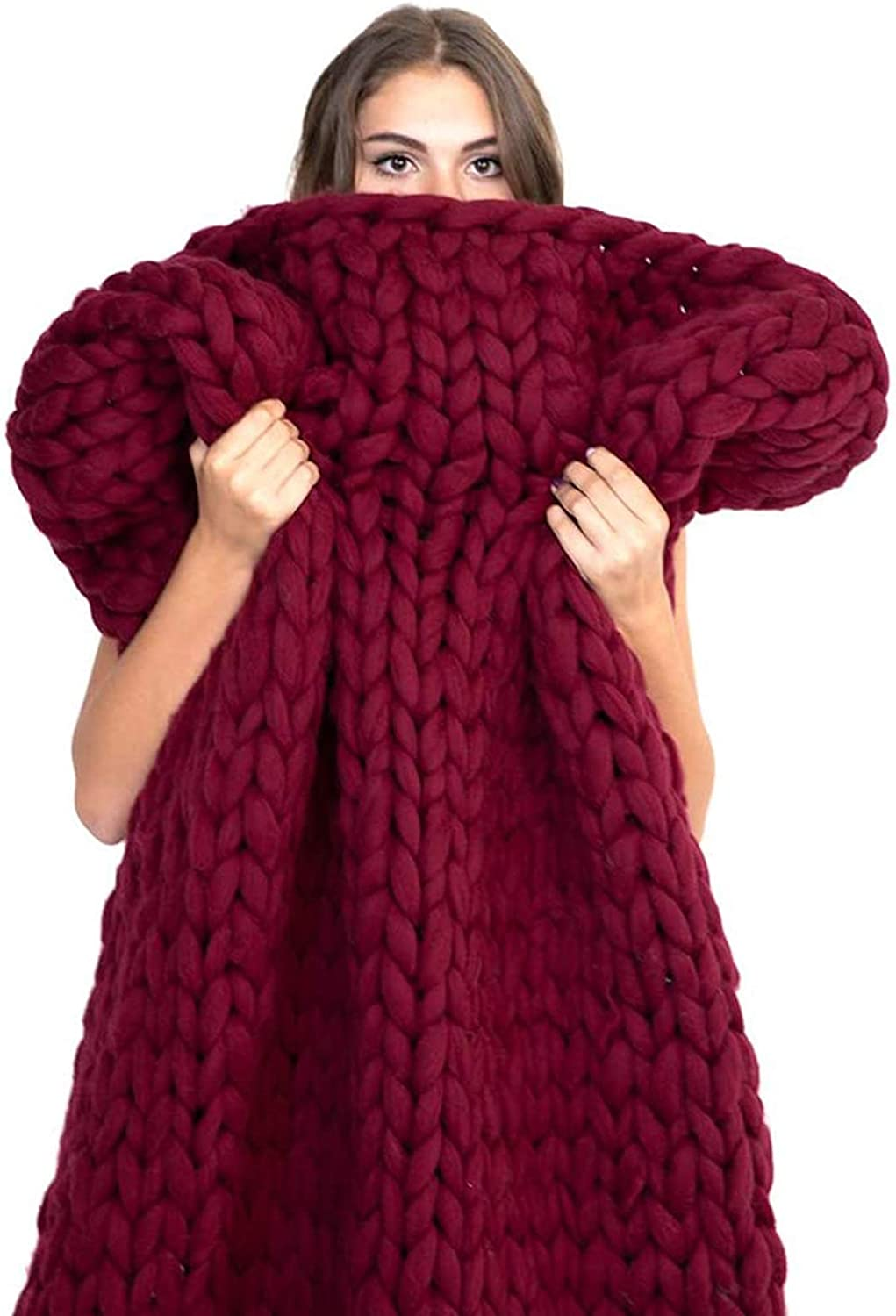 LICHUXIN Quantity limited Hand Knitted Yarn Throw Chunky Conditioning Air service Blanket