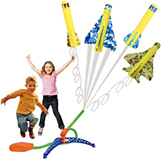 US Sense 4 Pack Kids Step-Powered Glider Stunt Plane Flyer Foam Planes Outdoor Rocket Toy with Adjustable Launcher - Gift for Boys and Girls Ages 5 Years and Up
