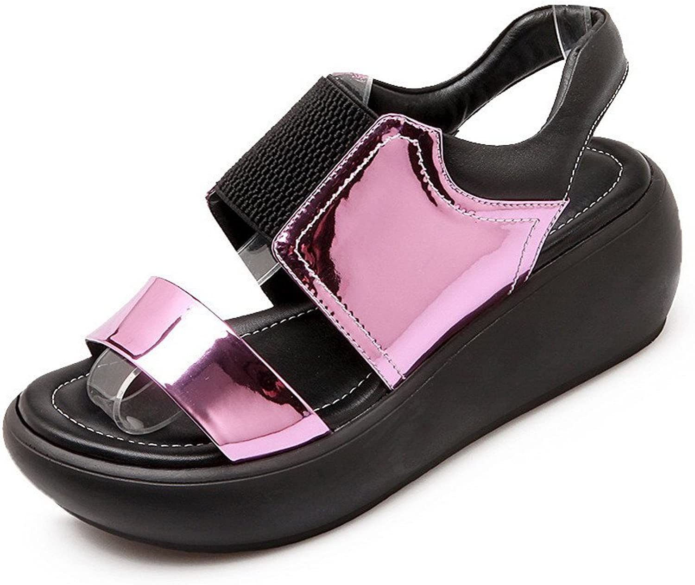 AmoonyFashion Women's Pull On Kitten Heels Blend Materials Solid Open Toe Sandals