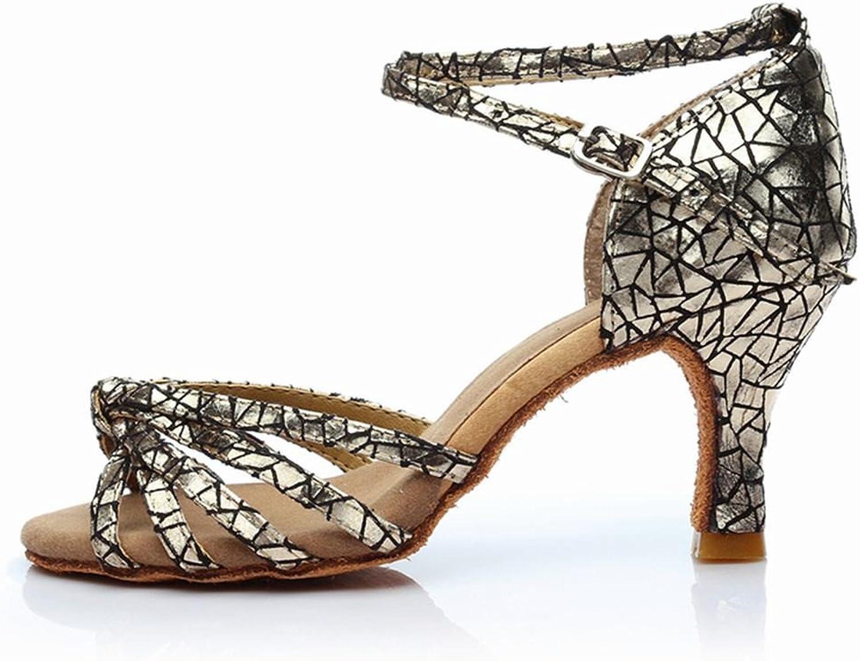 BYLE Leder Sandalen Samba Modern Jazz Tanzen Schuhe Latin Tanzen Schuhe Nach sozialen Tanz Den Tanz Schuhe Weichen Boden High-Heel Knoten Tanz Schuh Silber 7 cm B07DZH7X6R  Beliebte Empfehlung