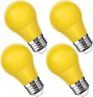 Smartinliving A15 Yellow Light Bulbs, 25W Equivalent Led Bulb, E26 Medium Base, 4W Led Yellow Bug Light Bulb, Perfect for Party Light, Halloween Decorative, Not Dimmable, 4 Pack
