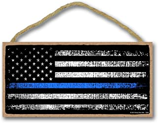 thin blue line flag wood sign